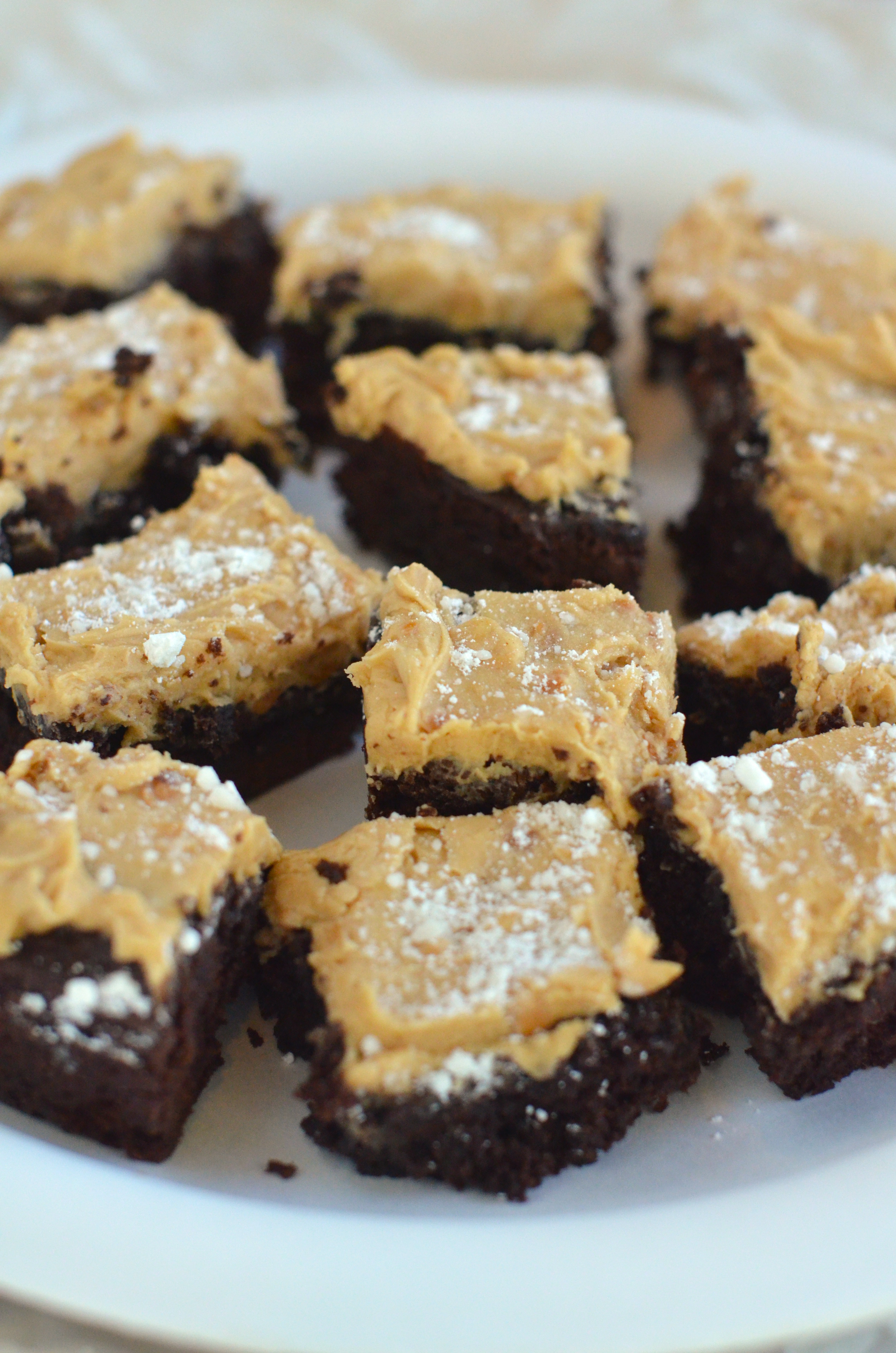 Dark Chocolate Brownies with Peanut Butter Frosting