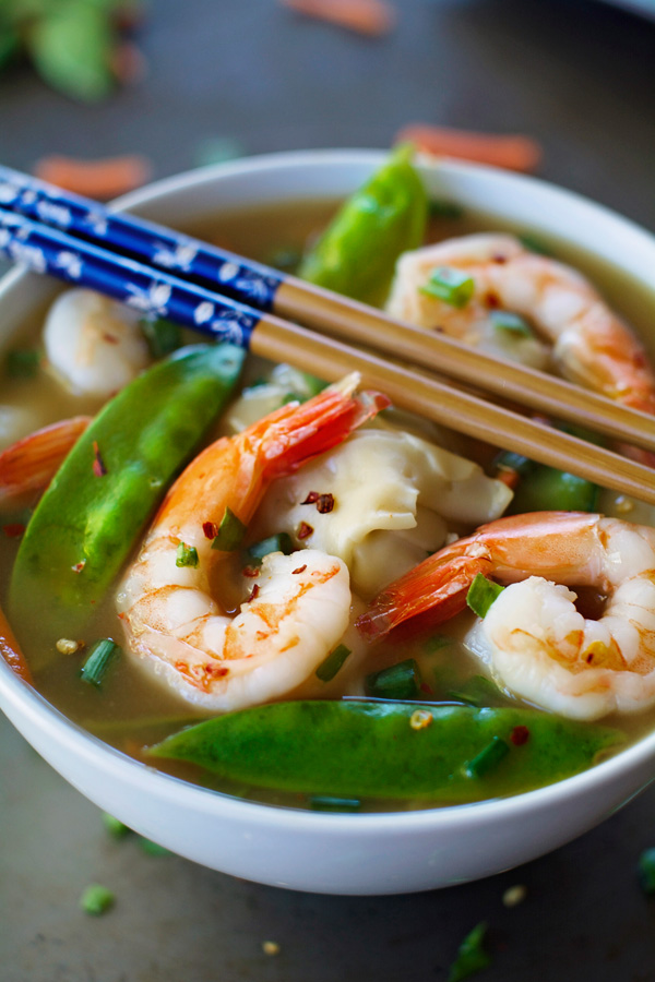 Shrimp Wonton Soup- delicious, easy, and healthy with only 110 ...